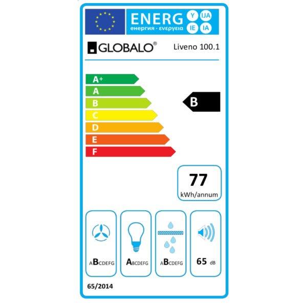 Okap kuchenny GLOBALO Liveno 100.2 Eko Max z silnikiem etykieta energetyczna