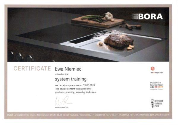 Ewa Niemiec certyfikat Bora