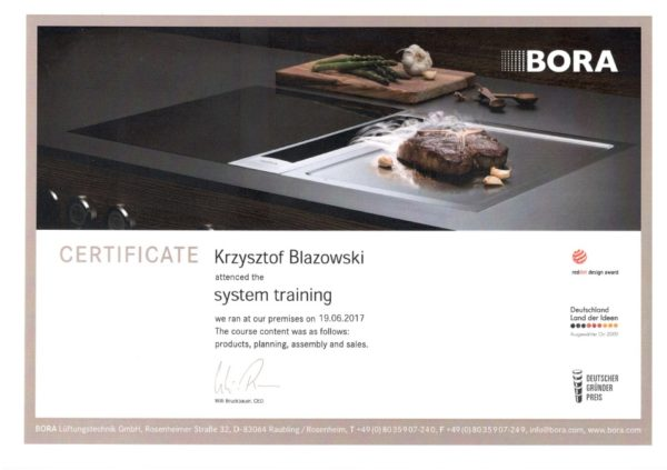 Krzysztof Błażowski certyfikat Bora