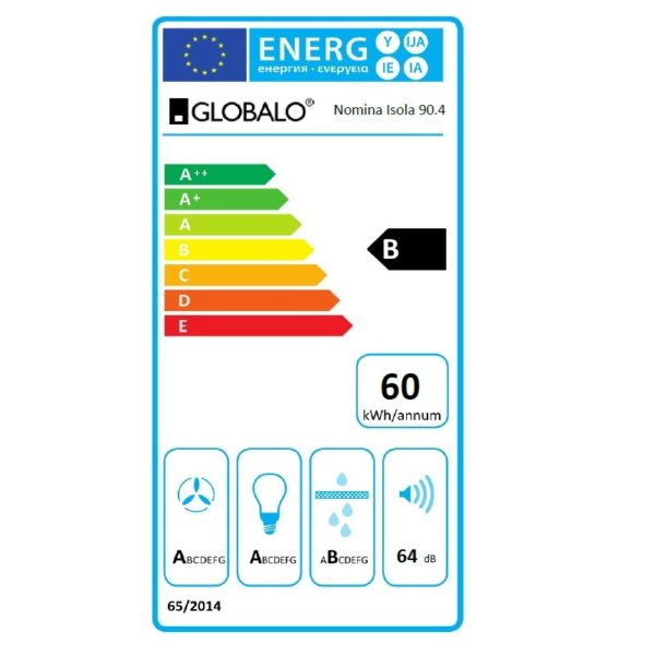 Okap kuchenny GLOBALO Nomina Isola 90.4 Sensor White etykieta