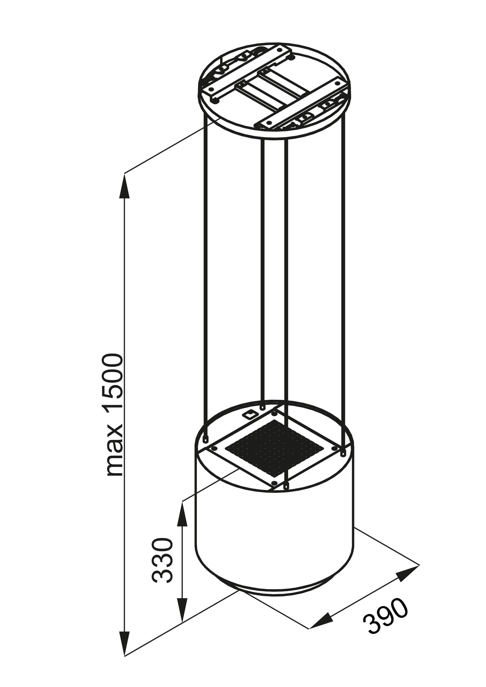 Okap wyspowy Arenoflow rysunek techniczny